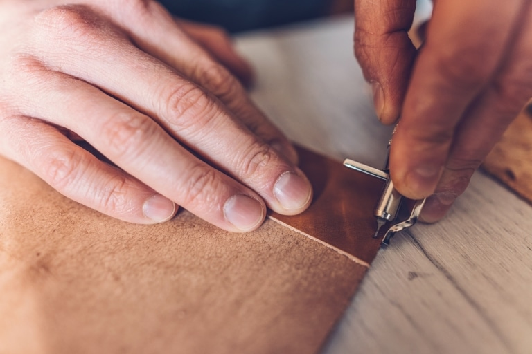 Working with real leather