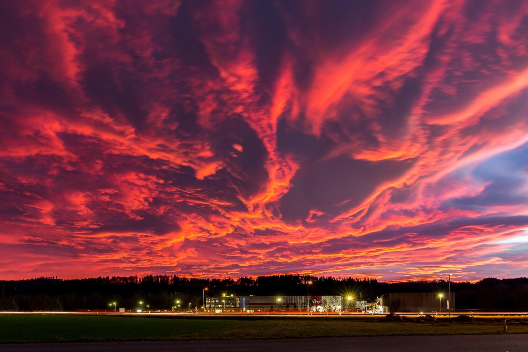 Wollsdorf Austria with red sky