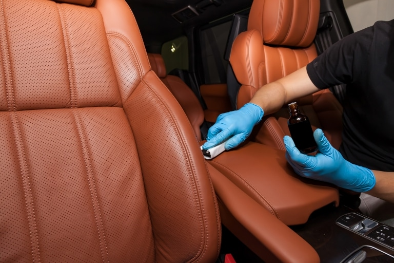 Cleaning car leather interior