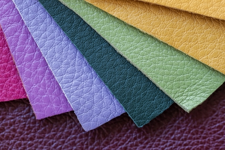 Colorful samples of genuine leather